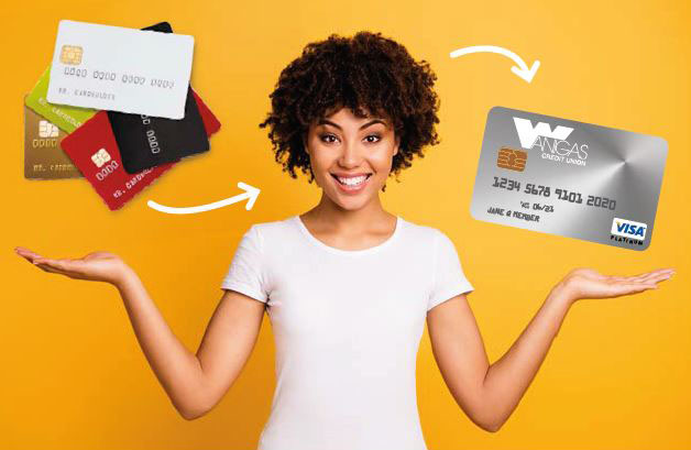 Picture of VISA Card, promoting VISA Balance Transfer promotion, call Wanigas CU for details