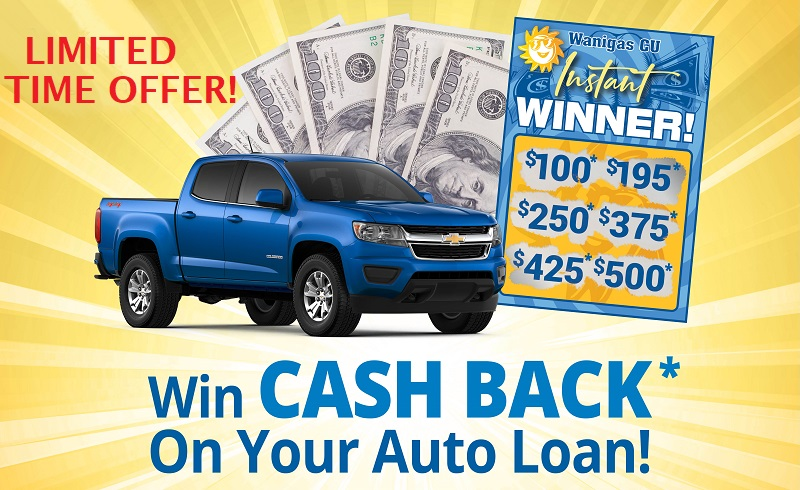 limited time offer to receive up to $500 on a new auto loan. Restrictions Apply. Call Wanigas for details.